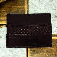 Leather bifold wallet, 'Off Road in Brown' - Hand Crafted Brown Leather Wallet for Men