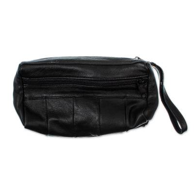 Black Leather Wristlet Carry All from Mexico