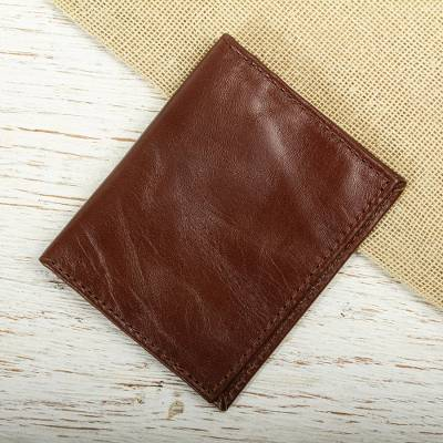 Leather bifold card wallet, 'Streamlined in Brown' - Brown Leather Bifold Card Wallet