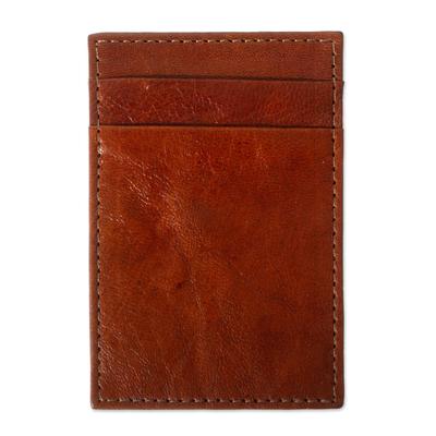Slender Brown Leather Card Holder Wallet