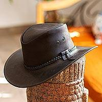 Men's leather hat, 'Outback Ranger in Black' - Black Leather Men's Hat from Mexico