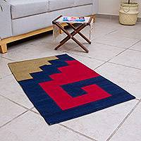 Wool area rug, 'Bold Steps' (2x3) - Hand Loomed Wool Area Rug from Mexico (2x3)