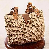 Leather-accented crocheted shoulder bag, 'Riviera' - Hand Crocheted Shoulder Bag with Leather Accents