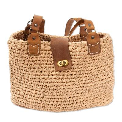 Hand Crocheted Shoulder Bag with Leather Accents
