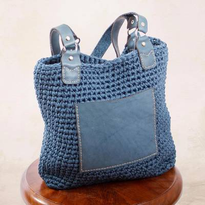 Leather-accented crocheted shoulder bag, 'Costa Azul' - Azure Crocheted Shoulder Bag from Mexico