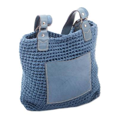 Azure Crocheted Shoulder Bag from Mexico