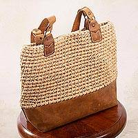 Leather-accented crocheted shoulder bag, 'Costa Maya' - Beige Crocheted Shoulder Bag with Leather Trim