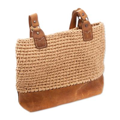 Beige Crocheted Shoulder Bag with Leather Trim