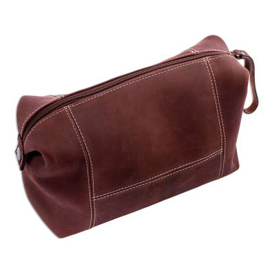 Brown Leather Unisex Shoulder Bag