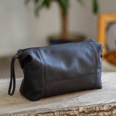 Leather toiletry case, 'Open Road in Black' - Unisex Black Leather Toiletry Case