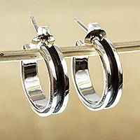 Silver half-hoop earrings, 'Wheels Up' - Polished and Oxidized 950 Silver Half-Hoop Earrings