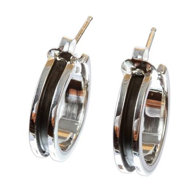 Silver half-hoop earrings, 'Wheels Up' - Polished and Oxidized 950 Silver Half-Hoop Earrings
