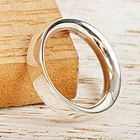 Unisex silver band ring, 'Classic'