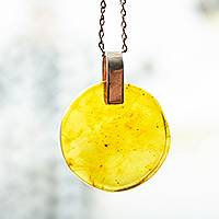 Amber pendant necklace, 'Lozenge' - Amber Pendant Necklace Handmade in Mexico