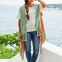 Cotton vest, 'Free Spirit' - Open Cotton Vest Hand Woven in Mexico
