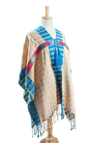 Hand Woven Multicolored Poncho from Mexico
