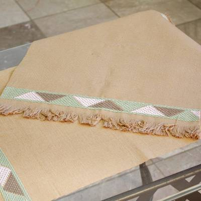 Cotton placemats, 'Mountain Vista in Tan' (pair) - Hand Crafted Tan Cotton Placemats (Pair)
