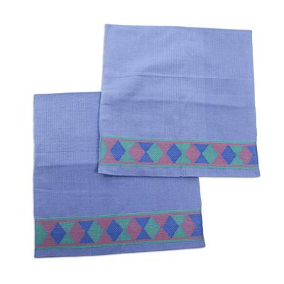 2 Handwoven Blue Cotton Cushion Covers w/ Purple & Green