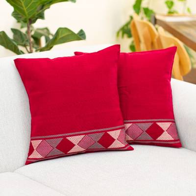 Cotton cushion covers, 'Red Maya Diamonds' (pair) - 2 Handwoven Red Cotton Cushion Covers w/ Pink & Grey