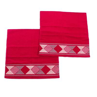 2 Handwoven Red Cotton Cushion Covers w/ Pink & Grey