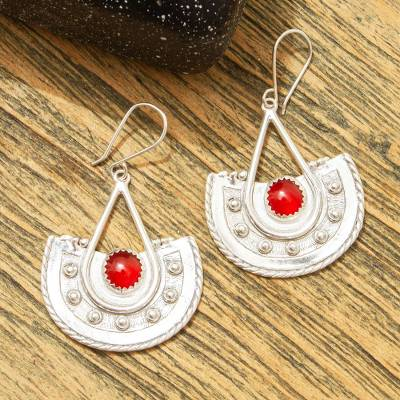 Carnelian dangle earrings, 'Embers' - Carnelian and Sterling Silver Dangle Earrings