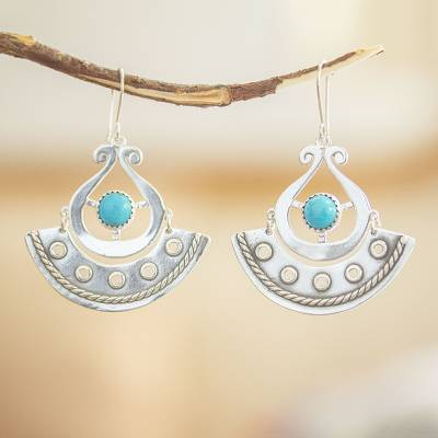 Turquoise dangle earrings, 'Eye in the Sky' - Genuine Turquoise and Sterling Silver Earrings