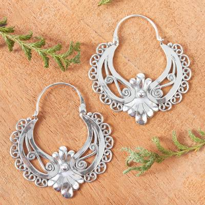 Sterling silver hoop earrings, 'Mexican Rococo' - Ornate Sterling Silver Hoop Earrings
