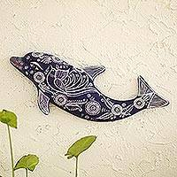 Ceramic wall accent, 'Blue Dolphin'