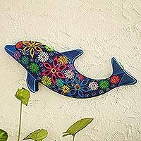 Ceramic wall accent, 'Flowered Dolphin'
