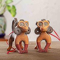 Ceramic ornaments, 'Totonaca Apes' (pair)