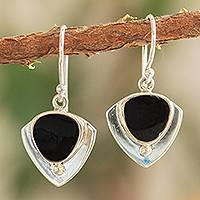 Obsidian dangle earrings, 'Taxco Triad' - Obsidian and 950 Taxco Silver Earrings