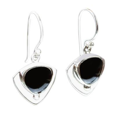 Obsidian and 950 Taxco Silver Earrings