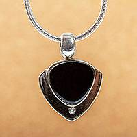 Obsidian pendant necklace, 'Taxco Triad' - Handmade Obsidian Pendant Necklace in 950 Silver