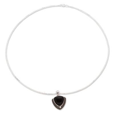 Obsidian pendant necklace, 'Taxco Triad' - Handmade Obsidian Pendant Necklace in 950 Silver