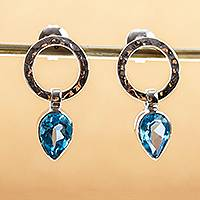 Blue topaz drop earrings, 'Captive Sky' - Hammered 950 Silver Blue Topaz Earrings