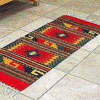 Zapotec wool area rug, 'Diamond Forest' (1x2) - Hand Loomed Colorful Wool Area Rug (1x2)