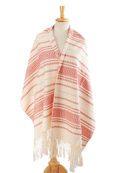 Cotton rebozo, 'Oaxacan Rhythm in Red' - Hand Woven Off-White and Red Rebozo Shawl