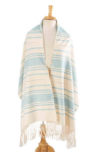 Cotton rebozo, 'Oaxacan Rhythm in Turquoise' - Turquoise and Off-White Cotton Rebozo