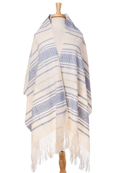 Cotton rebozo, 'Oaxacan Rhythm in Sapphire' - Hand Woven All Cotton Rebozo in Blue and Off-White