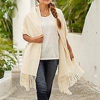 Cotton rebozo, 'Oaxacan Nature' - Natural Ivory Cotton Rebozo from Mexico
