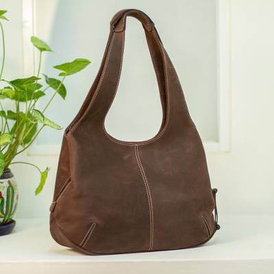 Leather hobo handbag, 'Urban Coffee' - Coffee Brown Leather Hobo Bag from Mexico