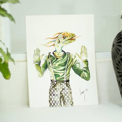 'Reptile' - Watercolor on Paper Painting of Reptile Man