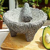Basalt molcajete, 'Taste of Tradition' - Traditional Basalt Mortar and Pestle from Mexico