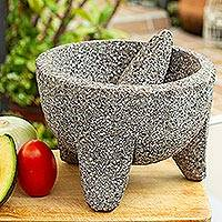 Basalt molcajete, 'Grand Tradition II' - Traditional Basalt Mexican Molcajete