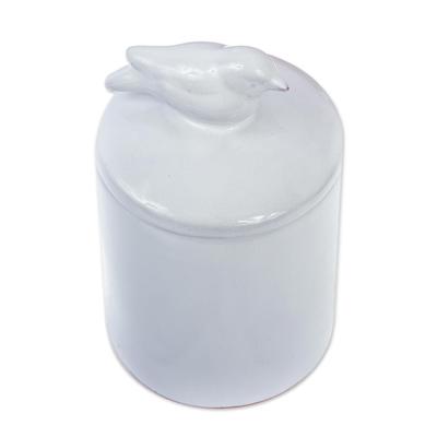 Decorative White Ceramic Jar with Bird on Lid