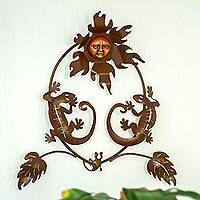 Iron wall sculpture, 'Gecko Family' - Handcrafted Iron and Ceramic Sun and Gecko Wall Sculpture