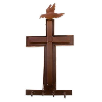 Cross with Dove Iron Wall Sculpture Key Holder from Mexico