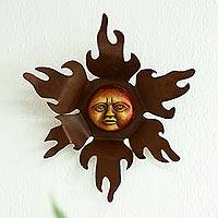 Iron and ceramic wall art, 'Señor Sun' - Iron and Ceramic Mexican Sun Wall Sculpture Art