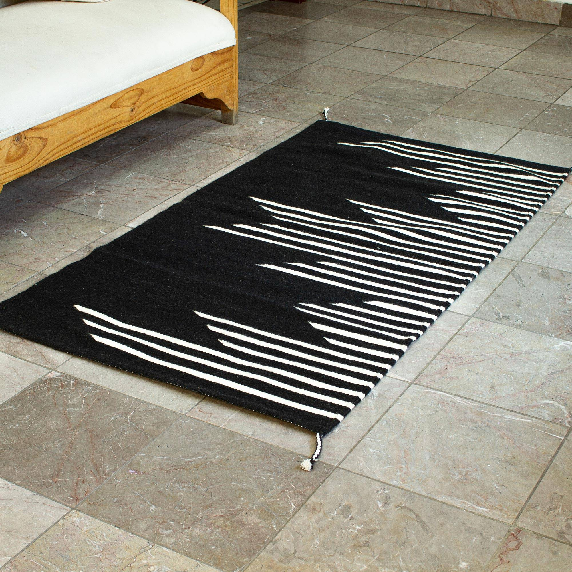 Black And Off White Modern Wool Area Rug 2 5x5 Skyscrapers In Black Novica