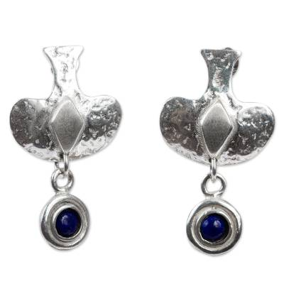 Rustic Sterling Silver and Lapis Lazuli Earrings